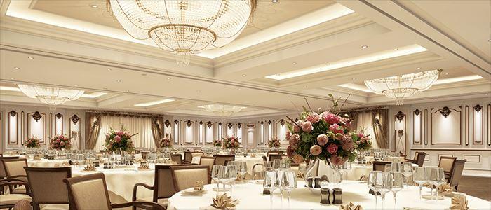横浜ロイヤルパークホテルの披露宴会場「芙蓉」が、優雅さと高級感を備えた空間へ一新!