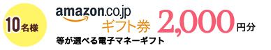 10名様 amazon.co.jp ギフト券2,000円分 等が選べる電子マネーギフト