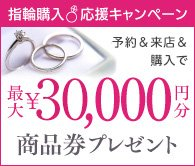 秋の指輪探し&購入応援キャンペーン!ブライダルリング購入で最大30,000円分商品券がもらえるキャンペーン実施中!