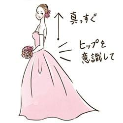 ウエディングドレスでの歩き方印象が良くなる3つのポイントイラスト