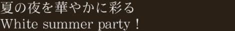 夏の夜を華やかに彩るWhite summer party!