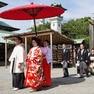 色打掛で臨んだ神社での神前式