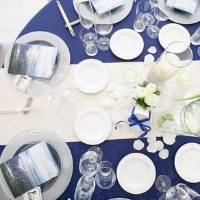 海辺をイメージした完全オリジナルのテーブルコーディネート