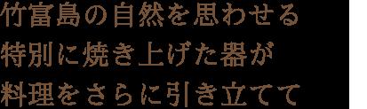 竹富島の自然を思わせる特別に焼き上げた器が料理をさらに引き立てて