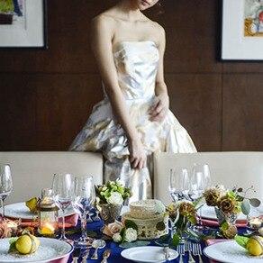 感度の高い花嫁は必見! シルバー×ゴールドが秀逸な コンビネーションドレス