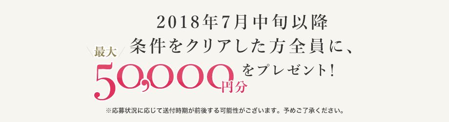 2018年7月中旬以降条件をクリアした方全員に、最大50,000円分の商品券を発送! ※応募状況に応じて配送付時期が前後する可能性がございます。予めご了承ください。