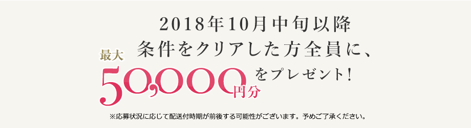 2018年10月中旬以降 条件をクリアした方全員に、最大50,000円分のギフト券を発送! ※応募状況に応じて配送付時期が前後する可能性がございます。予めご了承ください。
