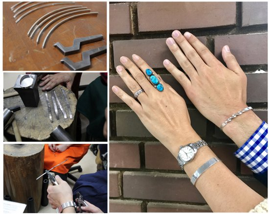 金属を叩いたり、ねじったり! ケイウノの工房でバングル製作をリアル体験♪