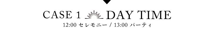CASE1 DAY TIME 12:00 セレモニー/13:00 パーティ