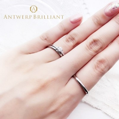 """Asterism"" Three Stone Diamond Ring Set②"