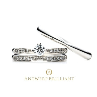 """Sirius"" 4 claws collet Diamond side line Ring Set"